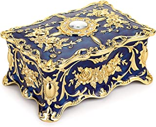 Hipiwe Vintage Rectangle Trinket Box Jewelry Box - Blue Treasure Chest Ornate Antique Finish Engraved Organizer Box Wedding Christmas Birthday Gift Dresser Deco Box