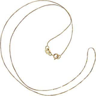 14K Solid Yellow Gold Necklace   Box Link Chain   16 Inch Length   .60mm Thick   With Gift Box