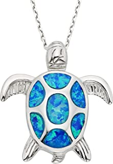 Sterling Silver Gold Tone or Rose Tone Created Blue or Pink Opal Nautical Sea Turtle 18