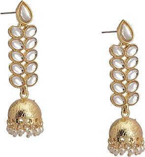 Zephyrr Latest Party Wear Ethnic Kundan & Pearl Design Gold Earrings Juhmka For Women