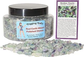 Sponsored Ad - Digging Dolls: 1 Gift Jar (Around 2 lbs) of Tumbled Rainbow Fluorite Chip Stones w/Stone Information Card -...