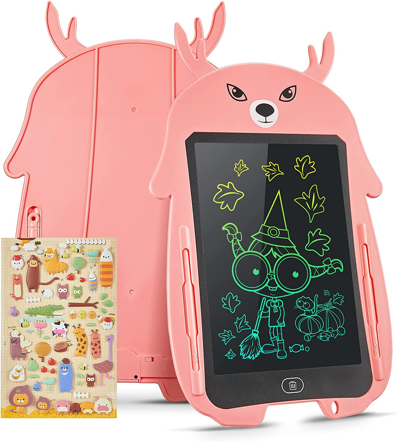 Genialba LCD Writing Tablet 8.5-Inch Elk Colorful Doodle Board, Toddler Learning Educational Toys Gifts for 3-7 Years Old Girls and Boys, Electronic Drawing Tablet Drawing Pad for Kids (Pink)
