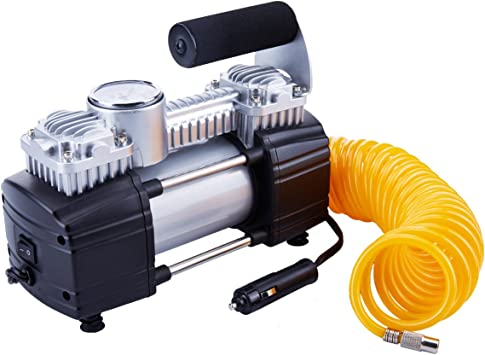 TIREWELL 12V Tire Inflator-Heavy Duty Double Cylinders Direct Drive Metal Pump 150PSI, Compressor with Battery Clamp and 5M Extension Air Hose, SUVs/Trucks/Vans/RVs: image
