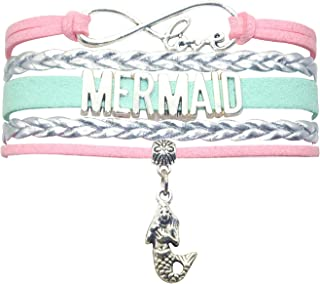HHHbeauty Mermaid Slap Bracelet Jewelry Leather Infinity Love Mermaid Gifts Mermaid Jewelry Bracelet Gifts for Women, Girls, Girls Gifts