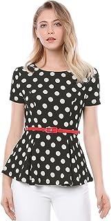 Allegra K Women's Summer Short Sleeve Polka Dot Peplum Top with Belt