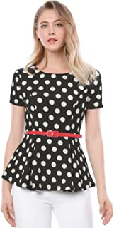 Women's Summer Short Sleeve Polka Dot Peplum Top with Belt