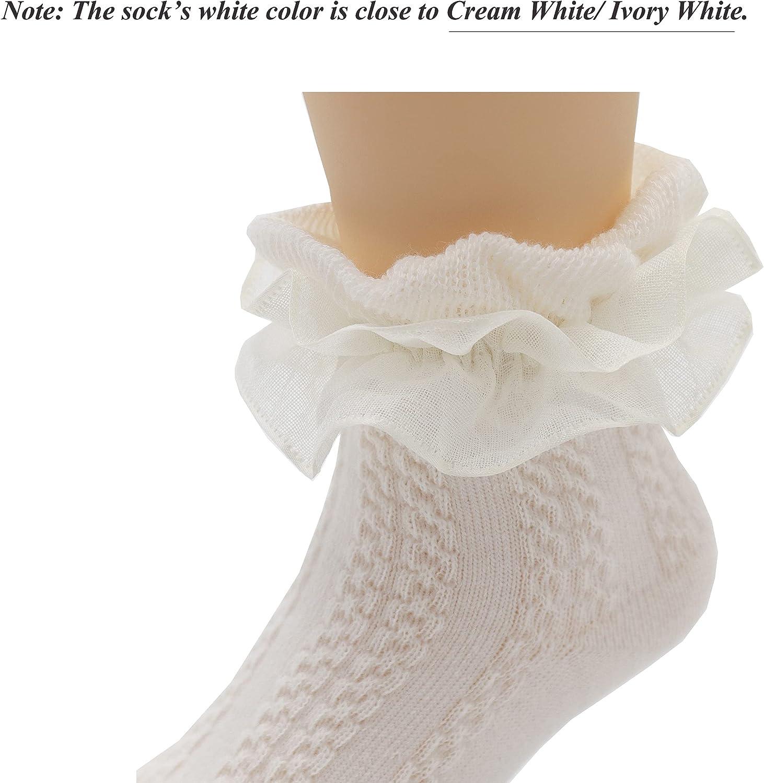 Girls Ruffle Lace Trim Cotton Socks Baby Girl Eyelet Frilly Dress Socks(1-9T)