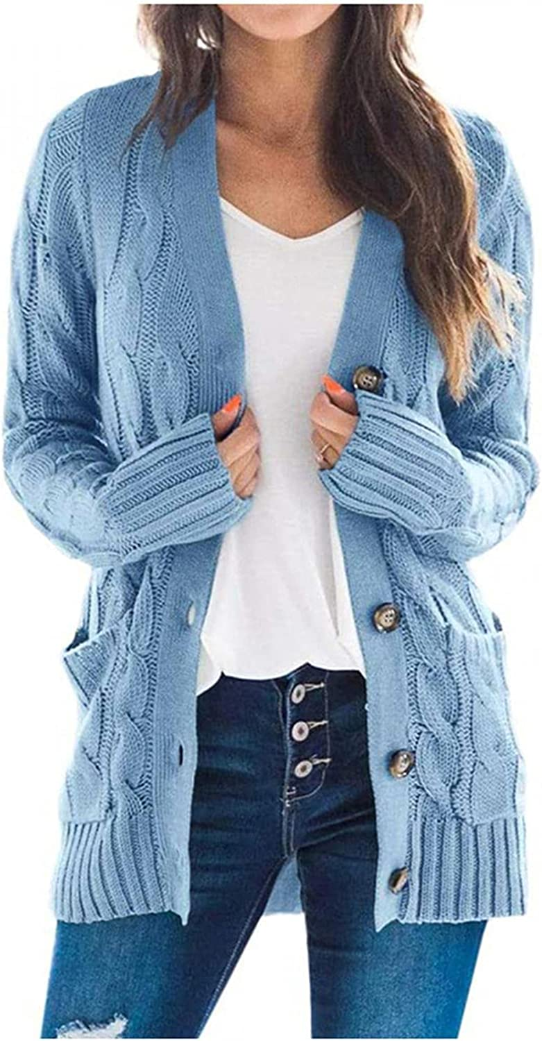 Cardigan Sweaters for Women,Bottons Down Cardigan for Women Solid Color with Pocket Long Sleeve Comfy Outwear