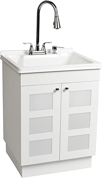 LDR 7712CP SD Laundry Utility Cabinet Sink Vanity Chrome Faucet With Pull Out Spray And Soap Dispenser