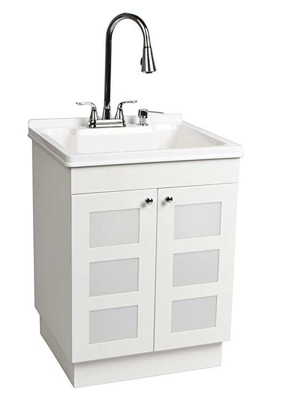 LDR 7712CP-SD Laundry Utility Cabinet Sink Vanity Chrome Faucet with Pull Out Spray and Soap Dispenser