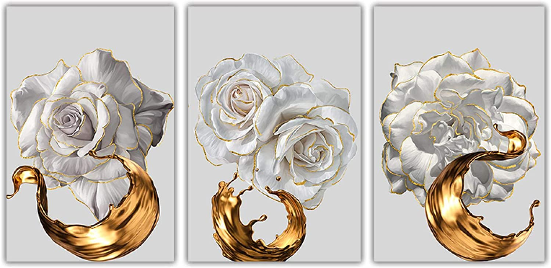 Bargain sale Sunsightly Print on Canvas White Ranking TOP17 Rose A Splash Ink Golden Flower