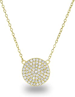 925 Sterling Silver Cubic Zirconia Pave Disc Round Circle Chain Necklace 18