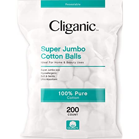 Cliganic SUPER JUMBO Cotton Balls (200 Count) - Hypoallergenic, Absorbent, Large Size, 100% Pure