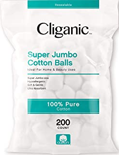 Sponsored Ad - Cliganic SUPER JUMBO Cotton Balls (200 Count) - Hypoallergenic, Absorbent, Large Size, 100% Pure