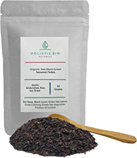 Organic Nordic Seaweed Flakes (Red Dulse, Black Nori Laver, Green Sea Lettuce) by Holistic Bin - Product of Iceland