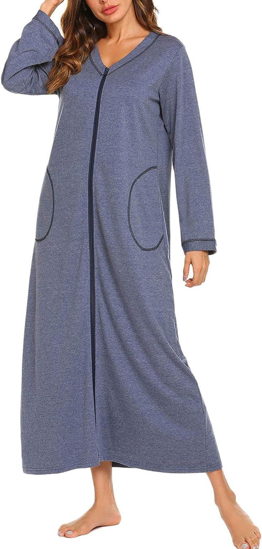 Aimado Women Soft Solid Front Zipper Long Sleeve Pockets Nightgowns Sleepwear(S,XXL)