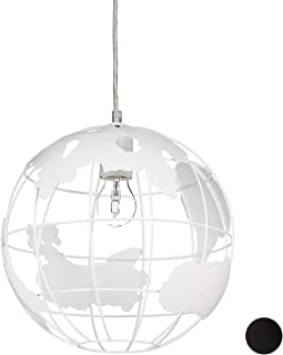 Relaxdays Lámpara de techo, Globo terráqueo, Diseño, Ajustable, Metal, Blanco, diámetro 30 cm