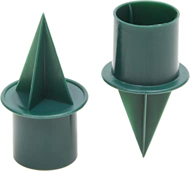Green Candle Holder Stakes for Weddings and Celebrations (2.4 x 1 in, 40 Pack)