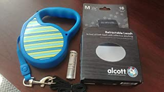 Alcott Medium Retractable Dog Leash - for Dogs up to 65 lbs (16-feet Long) (Blue Pattern Design)