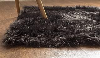Super Area Rugs Soft Faux Fur Sheepskin Shag Silky Rug Baby Nursery Childrens Room Rug Black, 2' x 3'