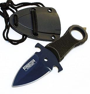 New XTREME Tactical Black FULL TANG NECK iCareYou Knife FIXED BLADE MILITARY DAGGER Sheath