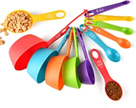 Measuring Cups and Spoons Set, 12 Piece Plastic Measuring Cups Measuring Spoons Stackable for Measuring Dry and Liquid Ing...
