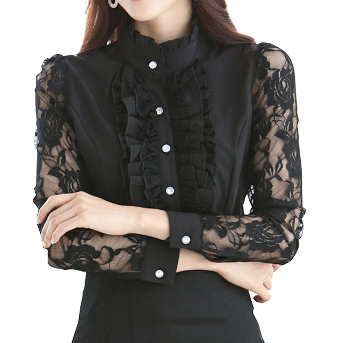 Women's Ruffle Blouse Long Sleeve Lace Stand Collar Formal Dress Shirts Office Style