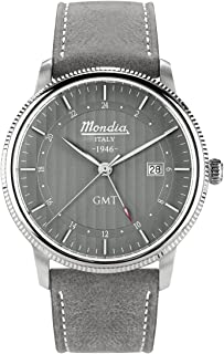 Mondia Italy 1946 GMT Mens Analog Japanese Quartz Watch with Leather Bracelet MI750-3CP