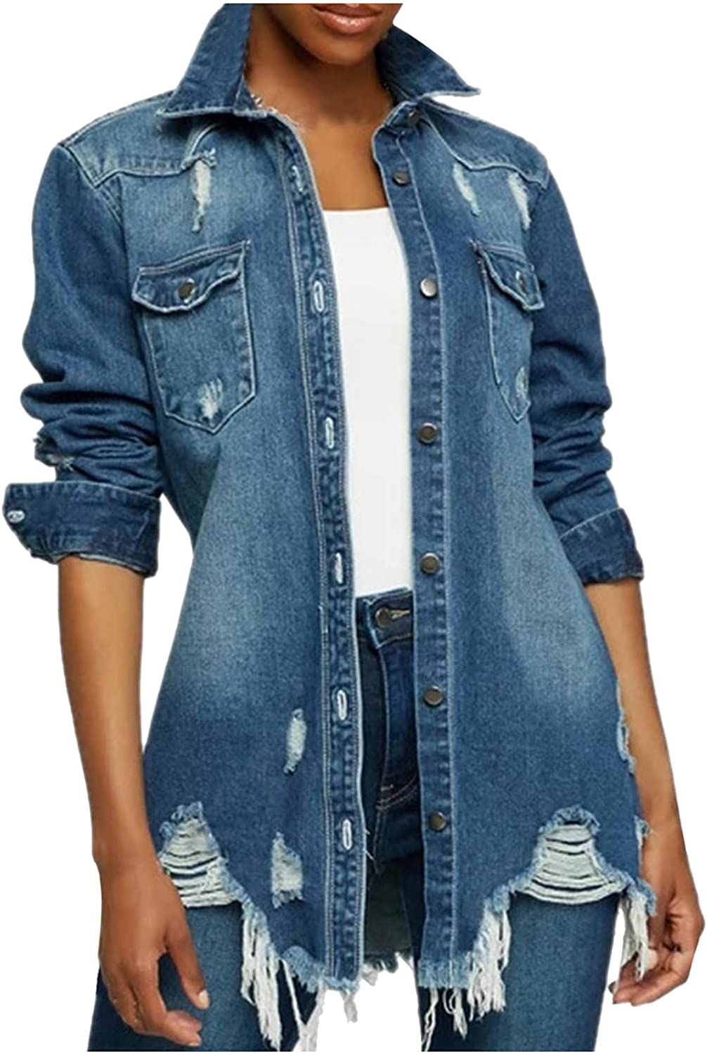 Distressed Denim Jacket Max 77% OFF for Women Ripped S Super Special SALE held Oversized Long Street