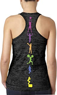 Women's Colorful Workout Lifting Fitness Moves Burnout Tank Top