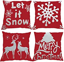 HOSL SD35 Embroidery Embroidered Merry Christmas Series Blend Linen Throw Pillow Case Decorative Cushion Cover Pillowcase Square 18 - Set of 4
