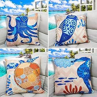 Unibedding Beach Throw Pillow Cover Decorative Ocean Nautical Theme Coastal Cushion Covers for Outdoor Patio Couch Chair Home Fall Christmas Decor, 4 Pack 18