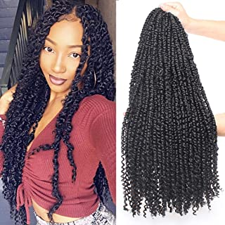 Xtrend 6packs 22inch Pre-twisted Passion Twist Hair 15Strands/Pack Pre-looped Passion Twists Crochet Braids Synthetic Hair Extensions (6packs, 1B#)