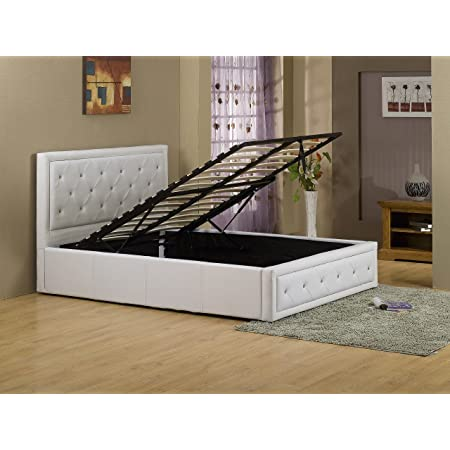 New Hollywood Crystal 4ft6 White Double Modern Gas Lift Up Deep Storage Ottoman Bed Pu Premium Leather Amazon Co Uk Kitchen Home