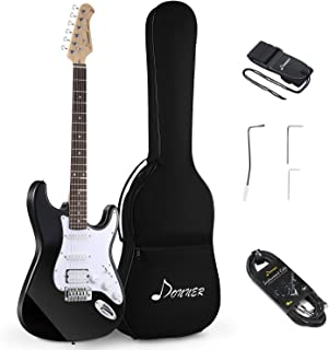 Best Donner DST-1B Solid Body Full-Size 39 Inch Electric Guitar Kit Black, Beginner Starter, with Bag, Strap, Cable Review