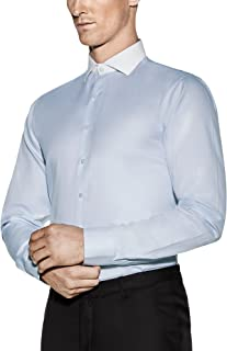 Men's Contrast Collar Blue Shirt with Stain Resistant Technology Irving