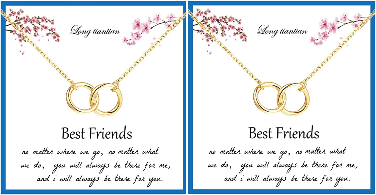 2Pcs Best Friend Necklace for Women 2 Interlocking Circles Necklace Double Circle Knot Necklace Friendship Necklaces BFF Gifts Jewelry for Best Friend
