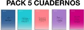 MIQUELRIUS - Pack 5 Cuadernos A4 Cuadriculados - Espiral, Cubierta de Polipropileno translúcido, Tamaño 210 x 297 mm, 80 Hojas de 90 g/m², Cuadrícula de 4 mm con margen, Mensajes