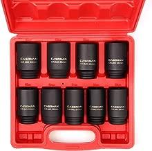CASOMAN 1/2- Inch Drive Deep Spindle Axle Nut Impact Socket Set, 6 Point, CR-MO, Metric, 29mm-38mm, 9-Piece 1/2