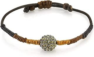 1928 Jewelry Adjustable Brown Leather Cord Bracelet with Swarovski Crystal Fireball
