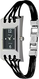 Moog Paris Filament Women's Watch with Black/Silver/White Dial, Black/Blue/Pink/White Strap in Genuine Leather