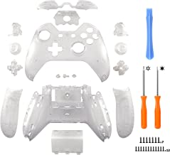 eXtremeRate Matte Transparent Clear Controller Housing Shell Case Cover Full Set Faceplates Replacement Kits with Buttons for Microsoft Xbox One Controller with 3.5 mm Headset Jack