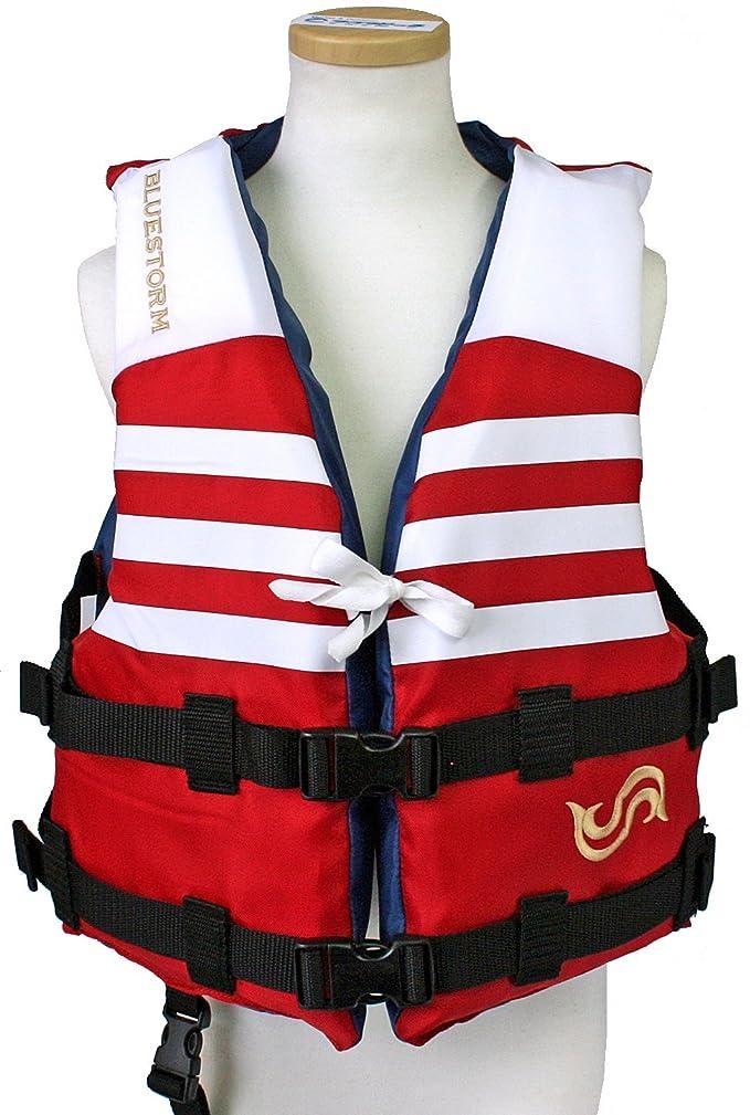 容赦ないマチュピチュエロチック小児用ライフジャケット BSJ-210Y(L) レッド BLUESTORM 高階救命器具 国交省型式承認品 小型船舶用救命胴衣
