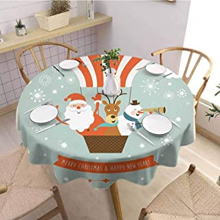 VICWOWONE Christmas Decoration Round Tablecloth,Diameter 36