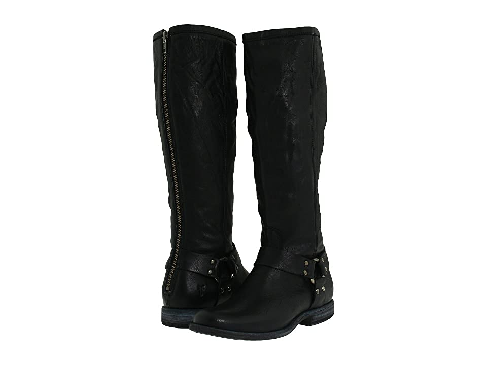 Frye Phillip Harness Tall (Black Soft Vintage Leather) Women