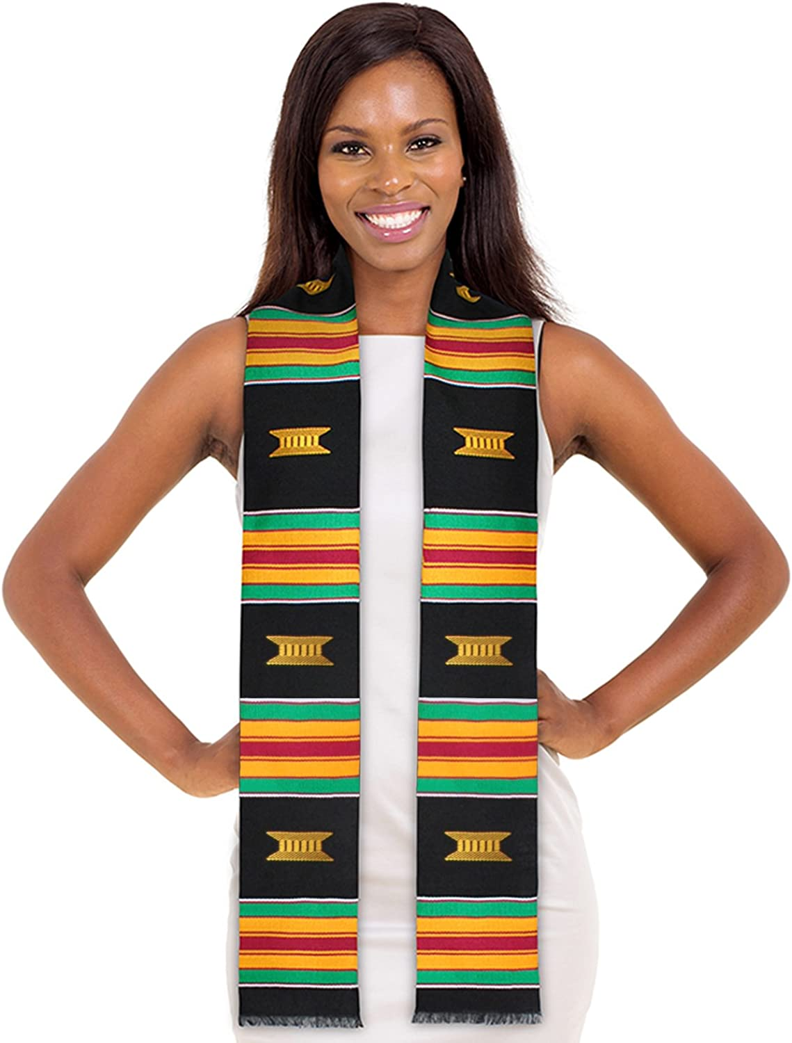 ADVANSYNC Kente Cloth Graduation Stole Black and Our Daily Bread Book Combo Pack