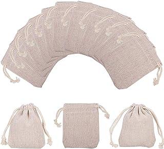 NBEADS 10 Bolsas Pequeñas de Algodón con Cordón para Joyería, Bolsas de Embalaje, Trigo, 9 X 8 Cm