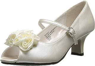 Girl's Peep Toe Dress Shoe with Satin Flowers