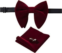 Lovacely Mens Pre-Tied Oversized Velvet Bow Tie Vintage Tuxedo Big Bowtie & Cufflinks & Pocket Square Sets with Gift Box