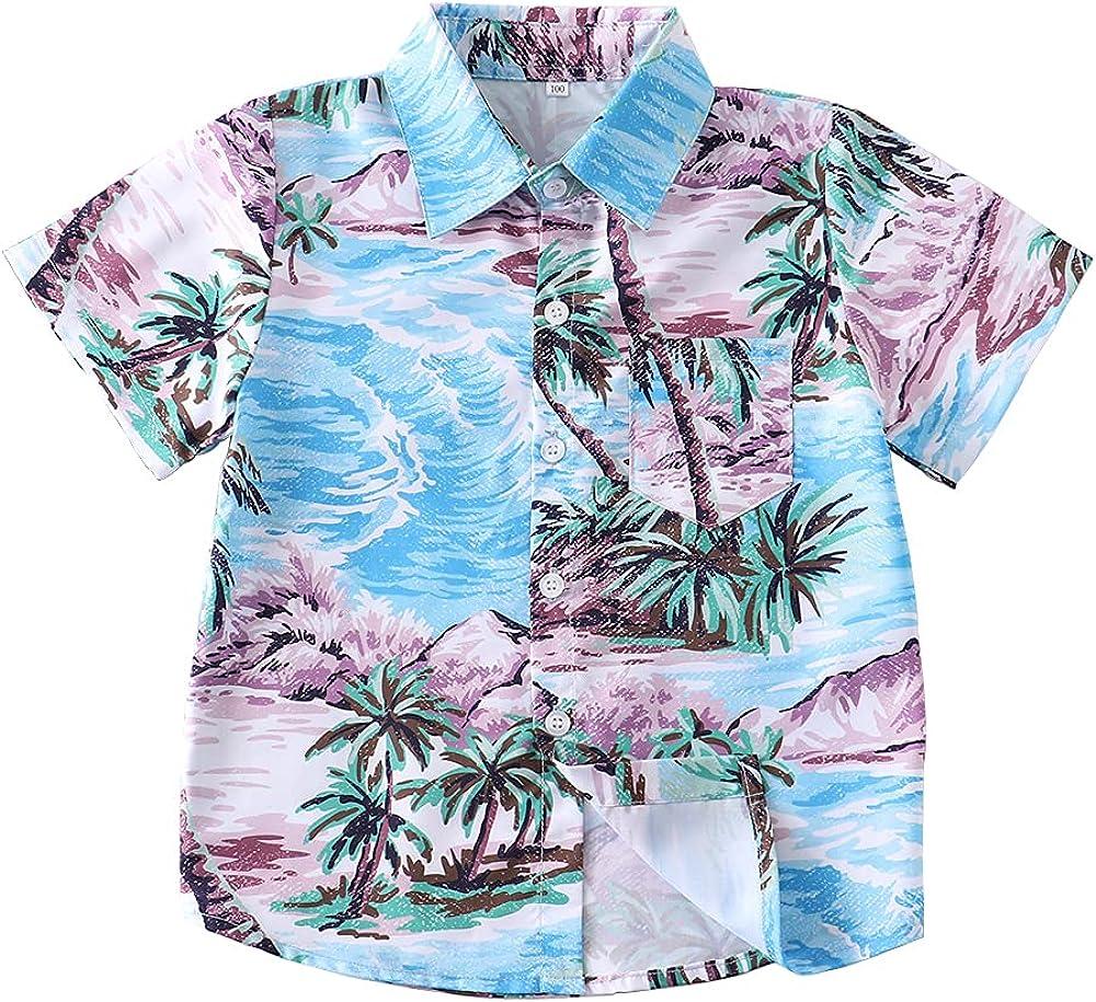 Kids Hawaiian Shirt for Boys Button Down Shirts Summer Graphic Tees 3D Print Aloha Beach Tops Short Sleeve Shirt